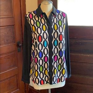 Fun colorful Trina Turk Silk Blouse